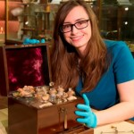 Sophie Andrews, DPhil student in biological sciences, with the medicine chest.