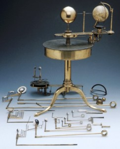 Orrery with accessories around it