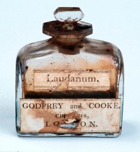 A bottle of laudanum, manufactured by Godfrey and Cooke.