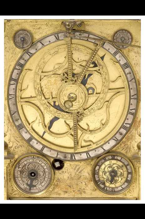 Closeup of Astrolabe Clock, by Johann Leonhardt Bommel, Nuremberg, c.1686? (Inv. 35592)