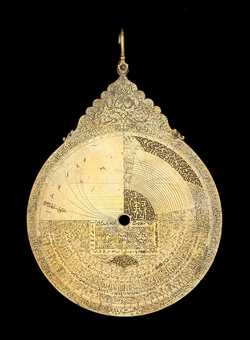 Small image of astrolabe back with rules or alidades removed. Click to enlarge.