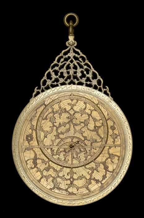 Closeup of Astrolabe, by Qa'im Muhammad, Lahore, 1634/5 (Inv. 42730)