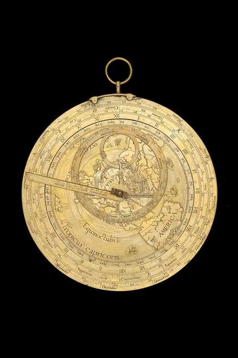 Closeup of Geographical Astrolabe, by Gillis Coignet, Antwerp, 1560 (Inv. 53211) showing Antarctica