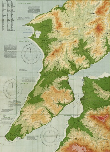 Orographical (topographical) map of the Dardanelles.