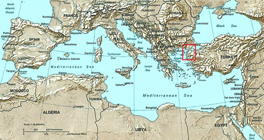 Box showing the location of Gallipoli and the Dardanelles, connecting the Mediterranean Sea with the Black Sea.