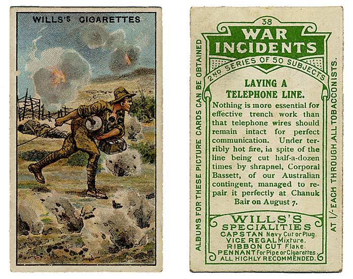 Cigarette card of Gallipoli signals work at battle of Chunuk Bair.