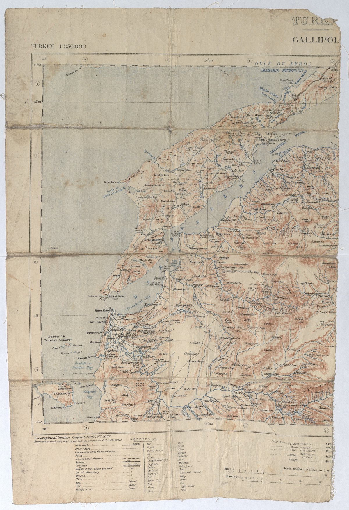 Map torn in half, showing the site of the Gallipoli campaign.