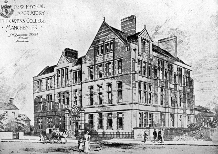The Manchester physics building where Harry worked 1910 - 1913.