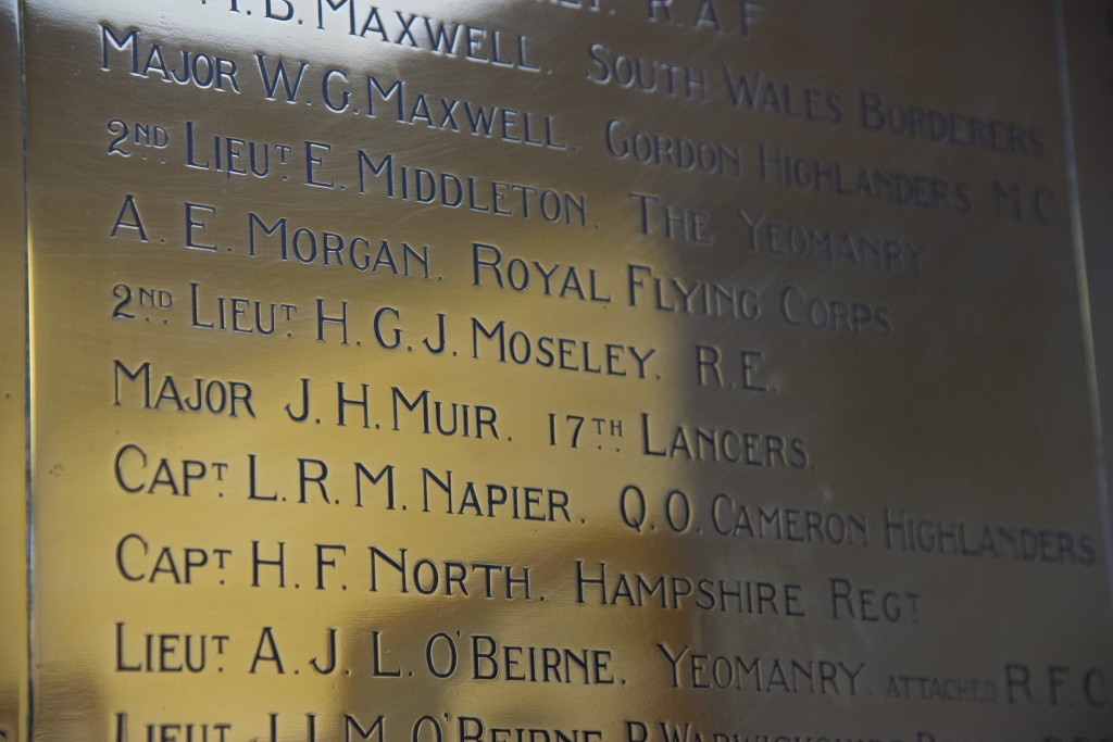 Harry's name on the Summer Fields war memorial.