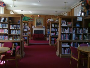 Summer Fields: The modern library, formerly the dining room during Harry's time at the school.