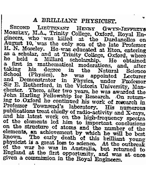 The Times list of casualties: A Brilliant Physicist - Henry Moseley (with link to the full Times column)