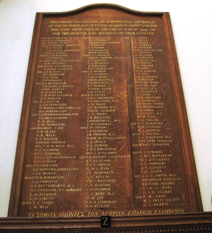 The War Memorial Board, photograph by Clare Hopkins