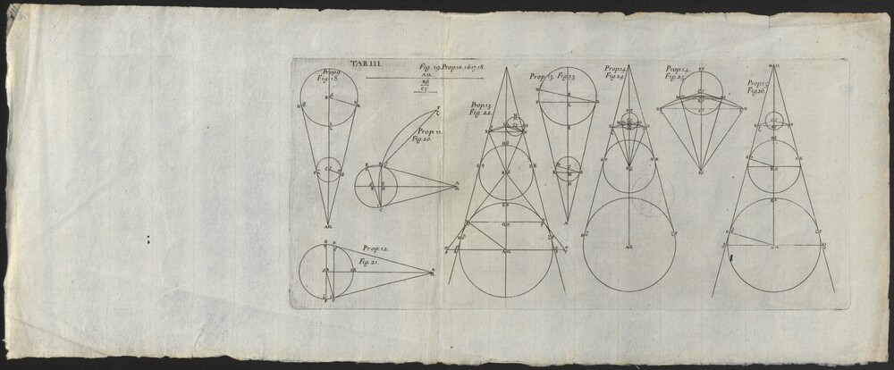 preview image for Print (Engraving) Tab III. Cones and illustrations of equations. Plate leaf from book. 19th Century