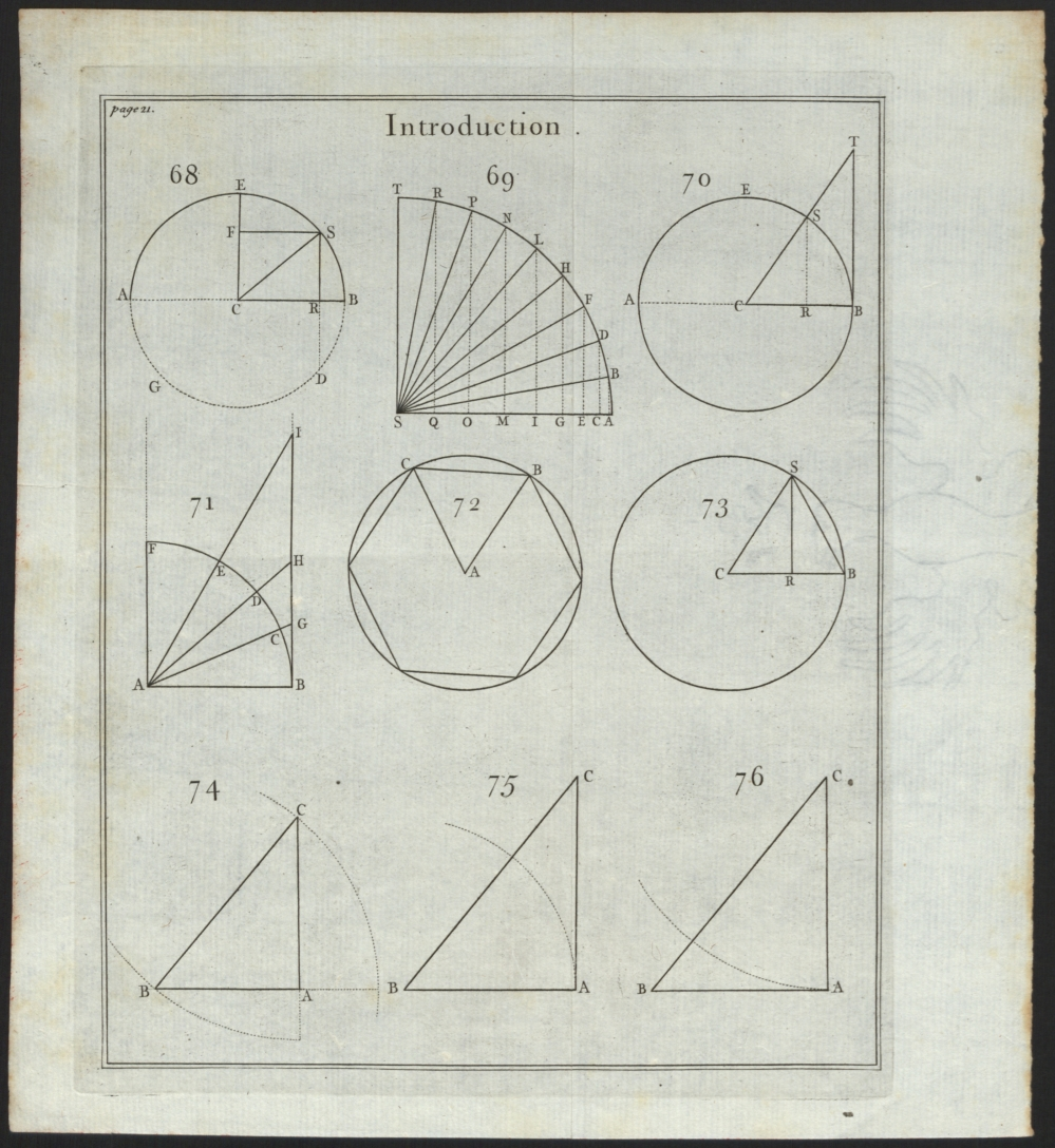 preview image for Print (Engraving) Introduction. Page 21. Illustrations of angles, triangles, circles, 18th Century