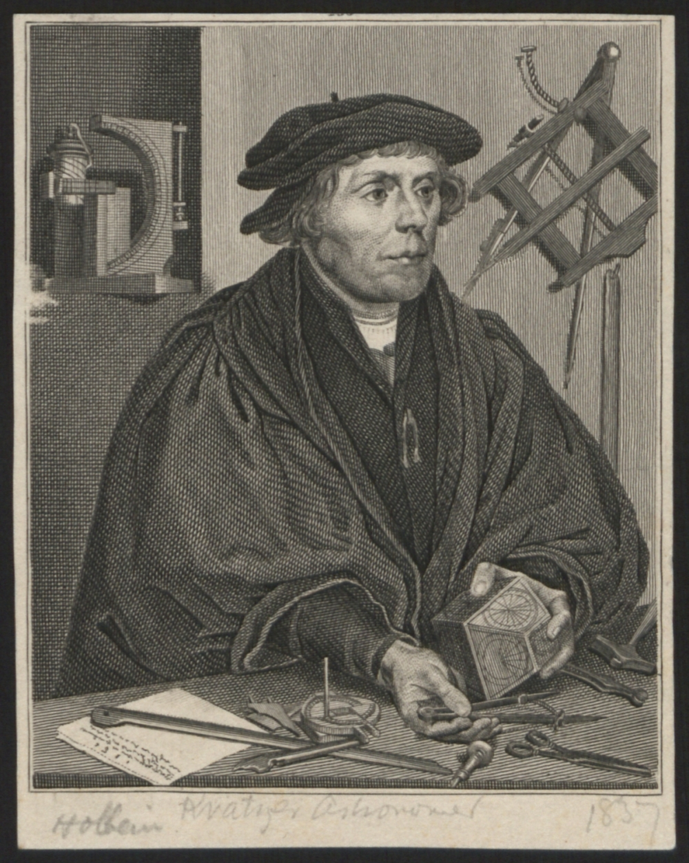 preview image for Print (Engraving) Nicolaus Kratzer, after Holbein, 1837