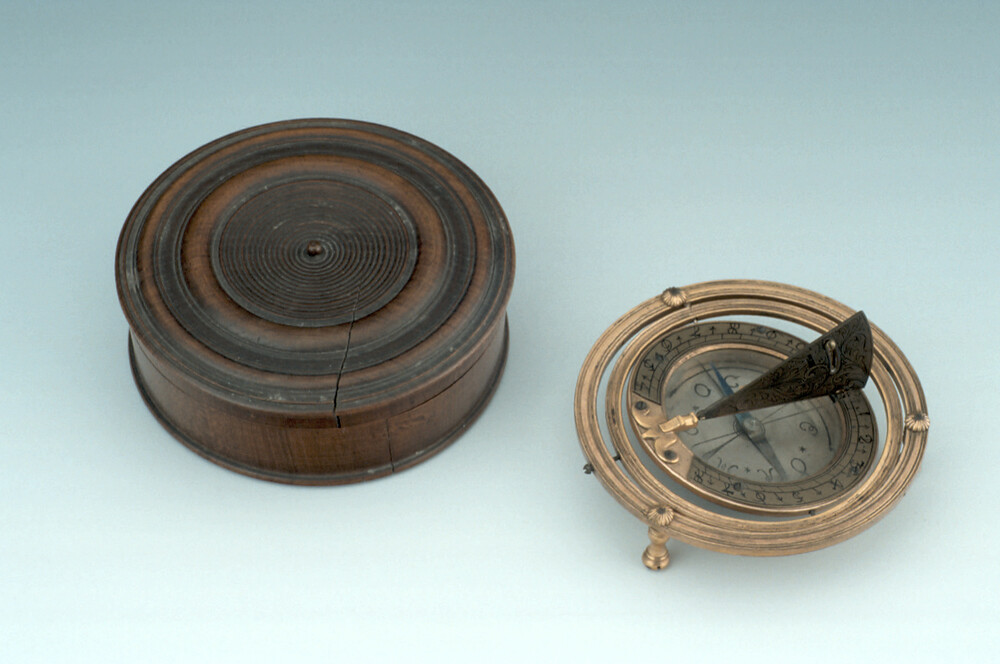 preview image for Horizontal Dial with Adjustable Gnomon and Gimballed Mount, German, c.1730