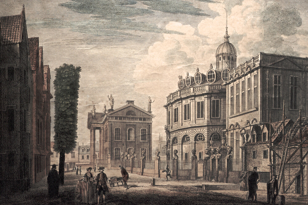 preview image for Print (Engraving, Hand-Coloured) of Broad Street, Oxford, Showing the Clarendon Building, Sheldonian Theatre, and Old Ashmolean, by John Donowell, Printed and Published by John Bowles, Between 1767 and 1779
