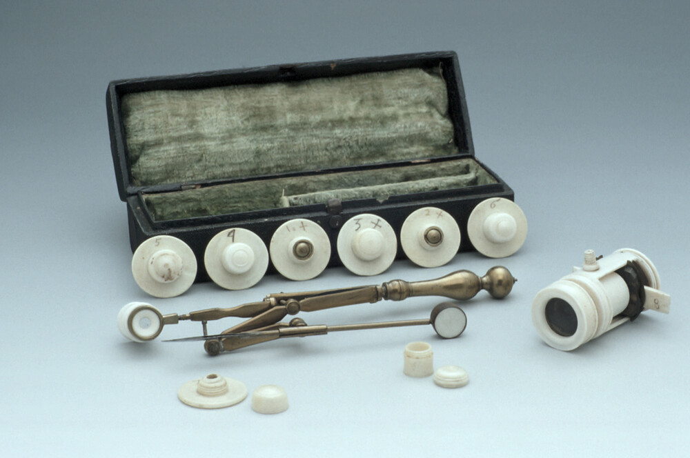 preview image for Screwbarrel Microscope, with Compass Microscope and Accessories, by James Wilson?, English, c. 1706