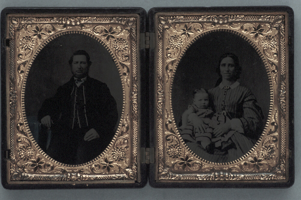 preview image for Two Photographs (Ferrotypes) in One Case, of a Man and of a Woman and Child, c.1858