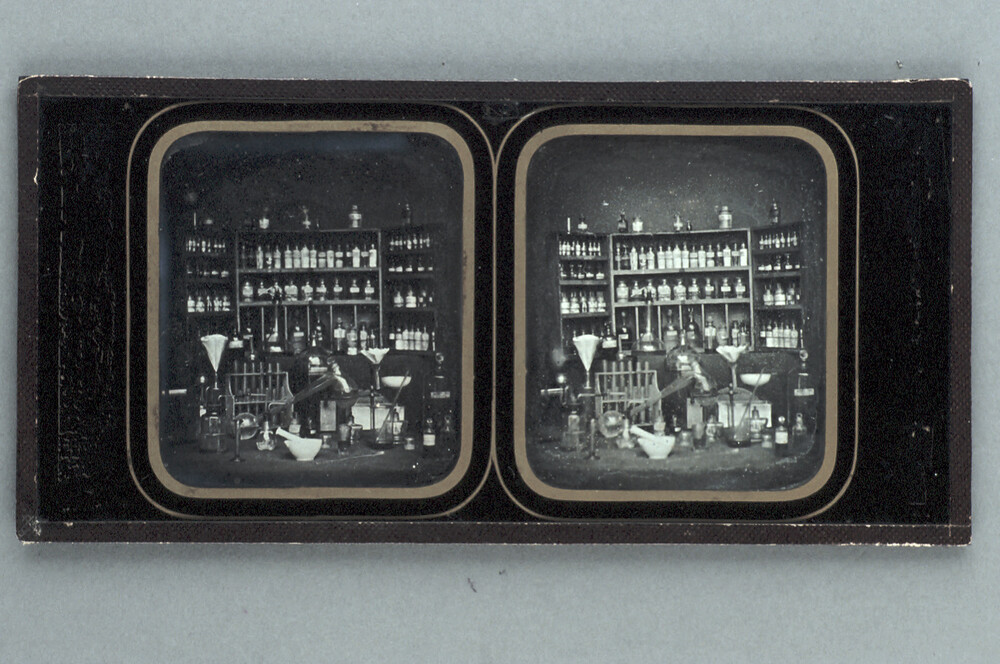 preview image for Stereoscopic Photograph (Daguerreotype) of Chemical or Pharmaceutical Instruments and Bottles, Probably French, 1850s