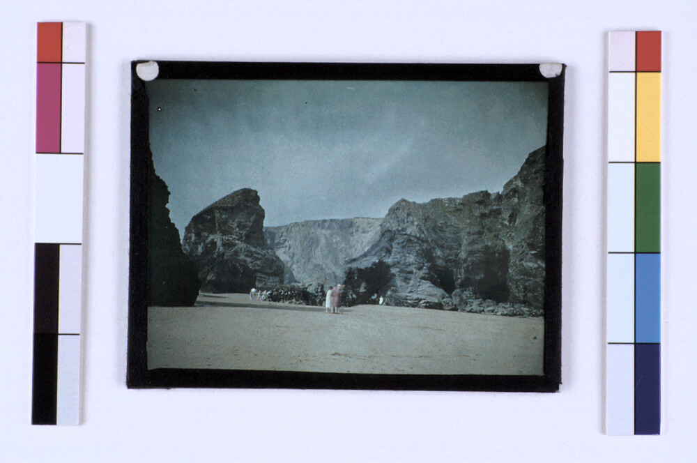 preview image for Colour Photograph (Autochrome) of Cliffs and a Beach, with Several Figures, Early 20th Century