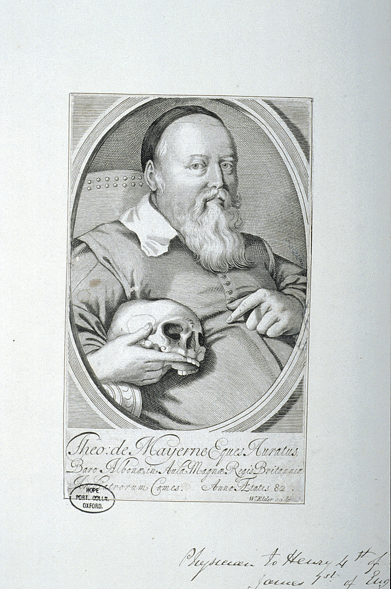 preview image for Print (Line Engraving) Theodore de Mayerne, by W. Elder, 17th Century