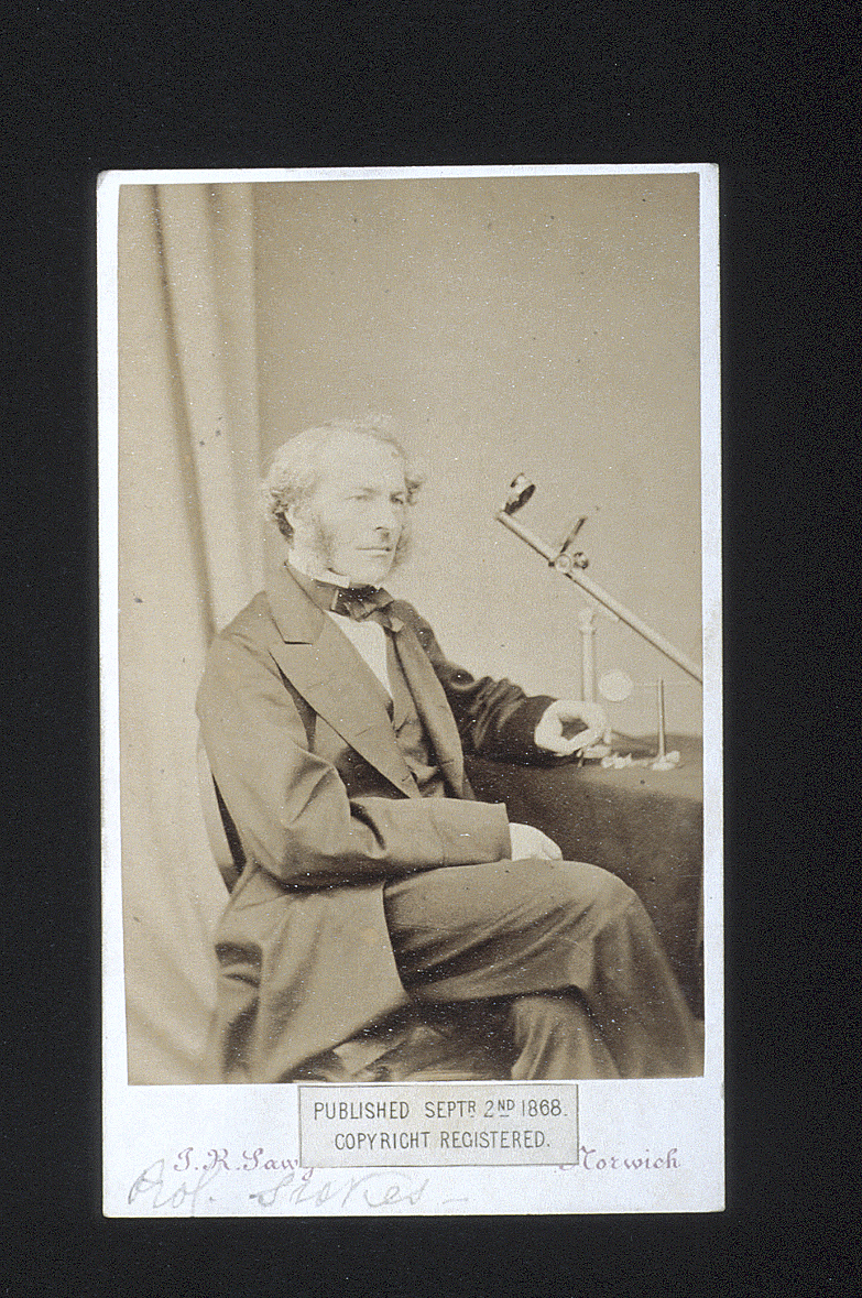 preview image for Photograph (Albumen Print, Carte de Visite) of G. G. Stokes with a Scientific Instrument, by J. R. Sawyer, Norwich, September 2, 1868