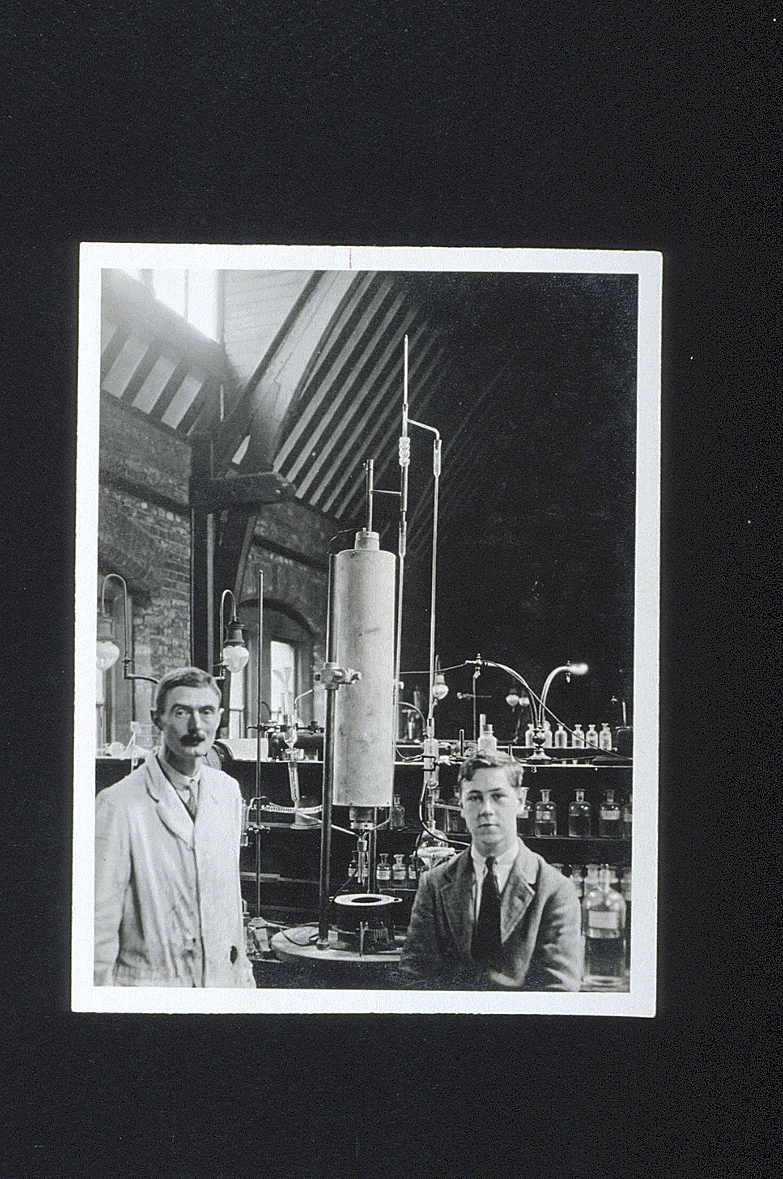 preview image for Photograph (Gelatine Print) of E. G. J. Hartley and Student with Apparatus in the Inorganic Chemistry Laboratory, Oxford, August 1926