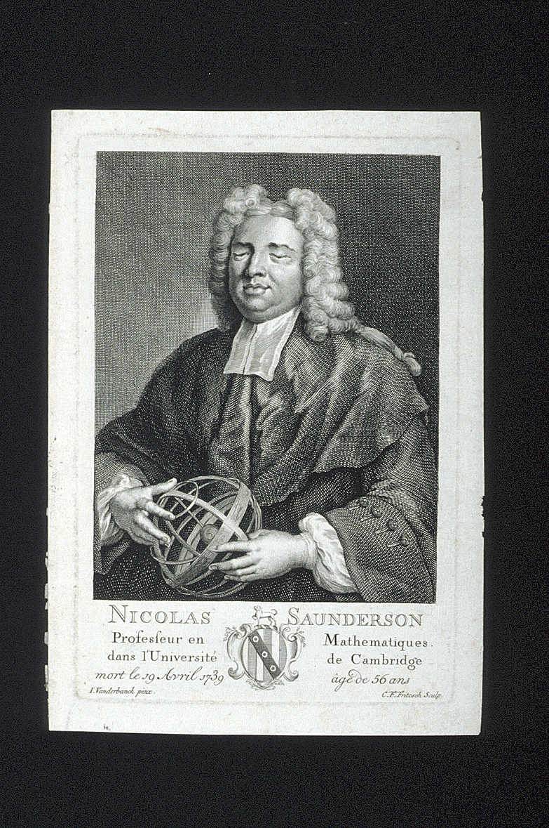 preview image for Print (Engraving) of Nicolas Saunderson, by C.F.Fritzsch after J.Vanderbanck, 18th Century