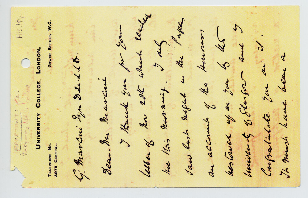preview image for Facsimile Of Fleming Letter, by J. A. Fleming, London, c. 1904