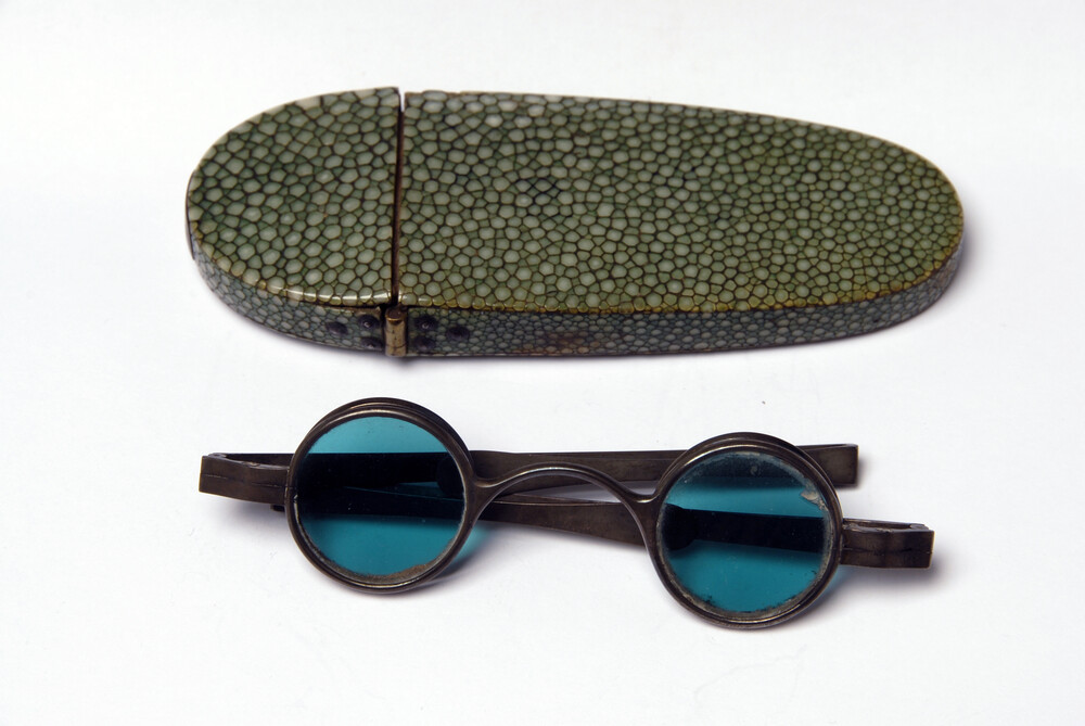 preview image for Wig Spectacles with Green Lenses and Case, c. 1800