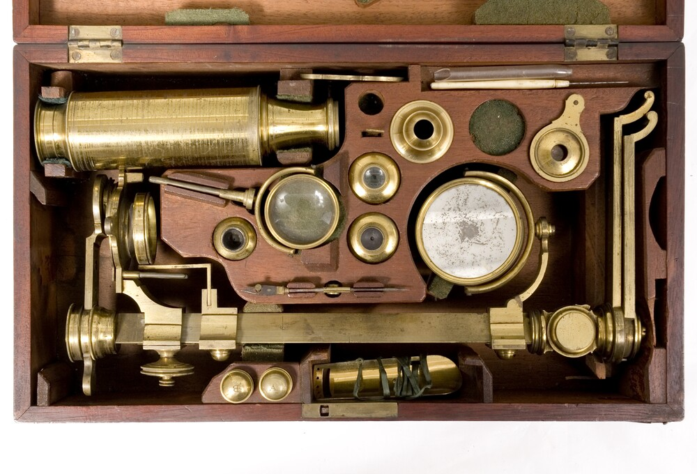 preview image for Compound Microscope in Case with Accessories, by J. Bleuler, London, c. 1800-25