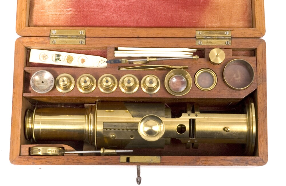 preview image for Drum Microscope with Accessories and Case, English, c. 1840