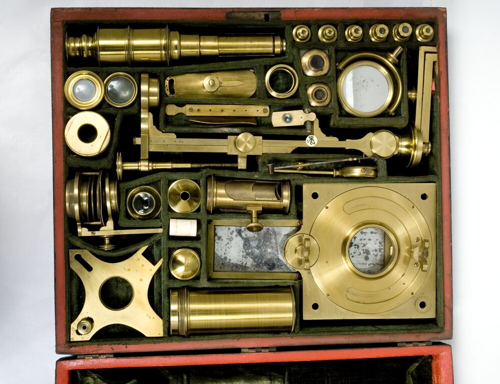 preview image for Optical Cabinet Containing Solar Microscope and Compound Microscope Parts and Accessories