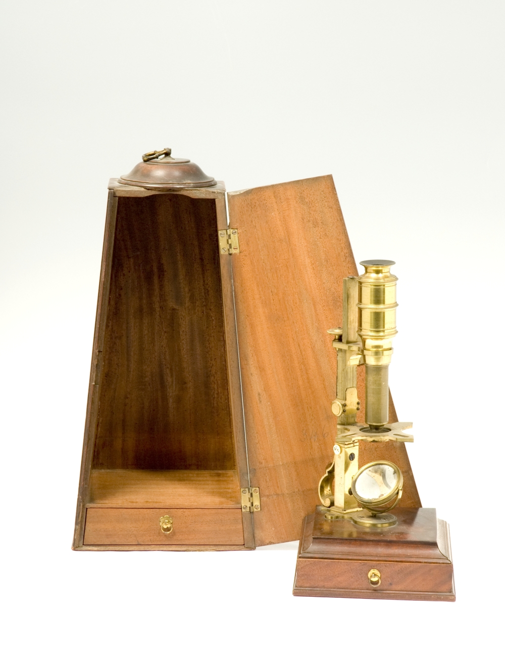 preview image for Cuff-Type Compound Microscope, by H. Shuttleworth, London With Case and Accessories