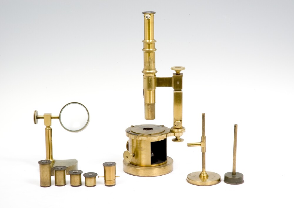 preview image for Compound Microscope with Revolving Drum, in Case with Accessories, by Trécourt et Georges Oberhaeuser, Paris
