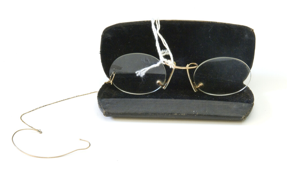 preview image for Pince-Nez Spectacles in Case, by F. J. Bridge, English, 1920s