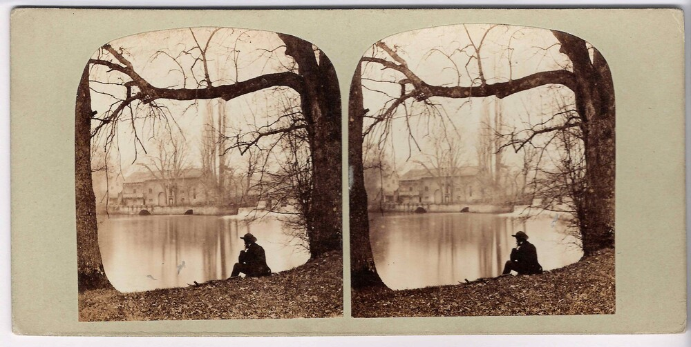preview image for Stereoscopic Photograph (Albumen Prints) of a Riverside Scene with Figure at Guy's Cliff, Warwickshire, 1850s or 1860s