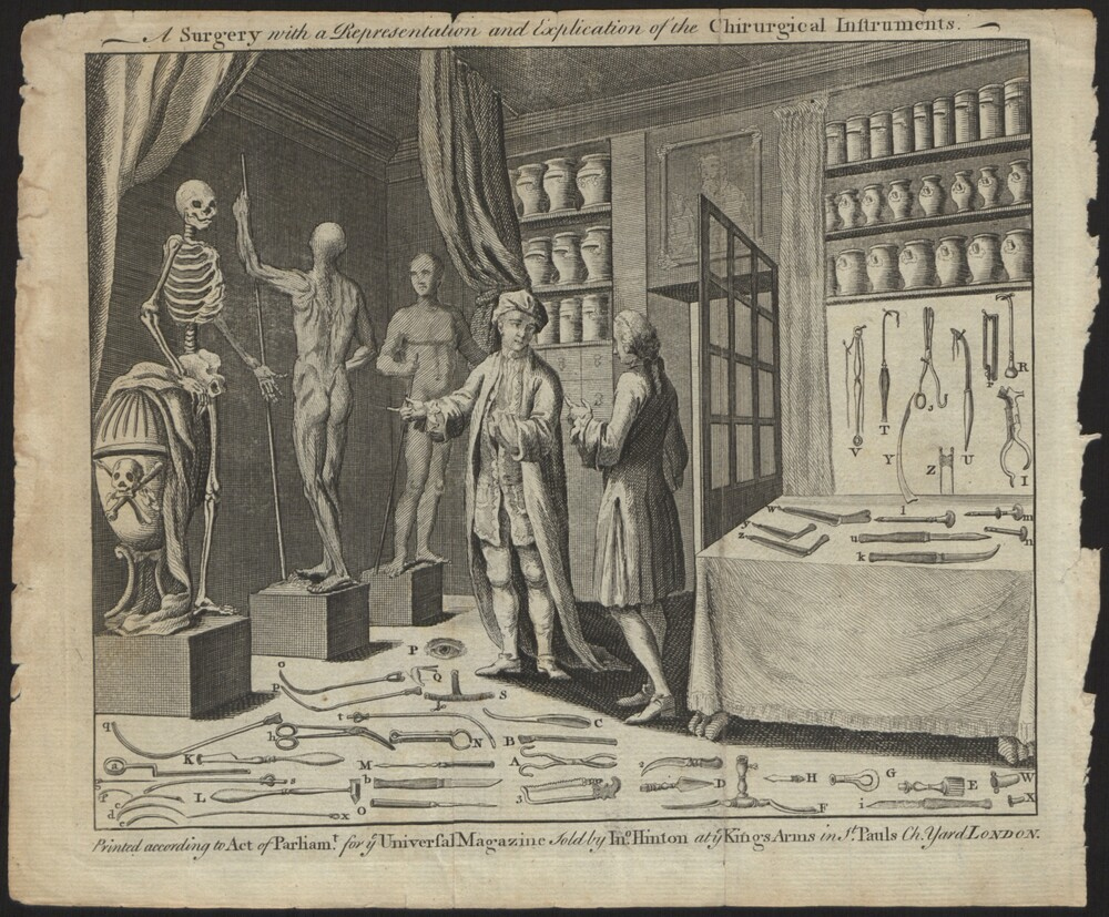 preview image for Print (Engraving) A Surgery with a Representation and Explication of the Chirurgical Instruments, printed according to Act of Parliam. For Universal Magazine. Sold by In. Hinton, London, 18th Century