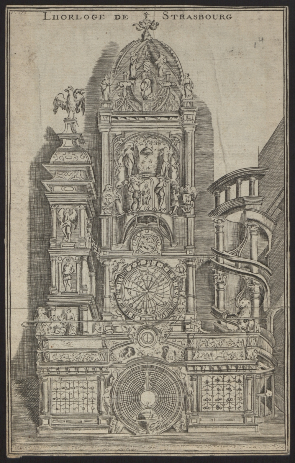 preview image for Print (Etching,Engraving) of Strasbourg Cathedral Astronomical Clock, France, 18th Century