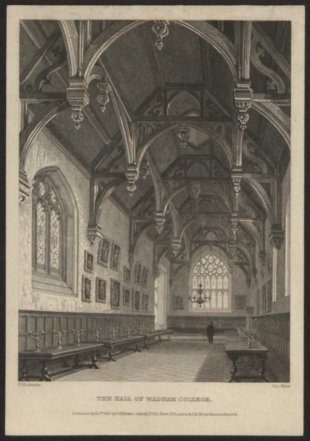 preview image for Print (Engraving, Etching) of The Hall of Wadham College, by J. Le Keux after F. Mackenzie, Published by J.H. Parker, Oxford, C.Tilt,. J.Le Keux London, 1836