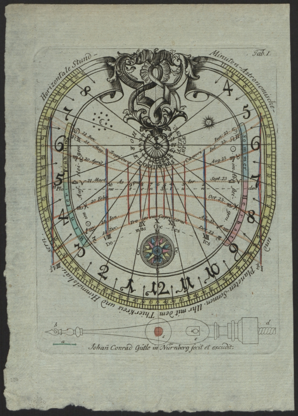 preview image for Print (Engraving) Paper sundial with gnomon by Johan Conrad Gütle, Nuremberg, 17th Century