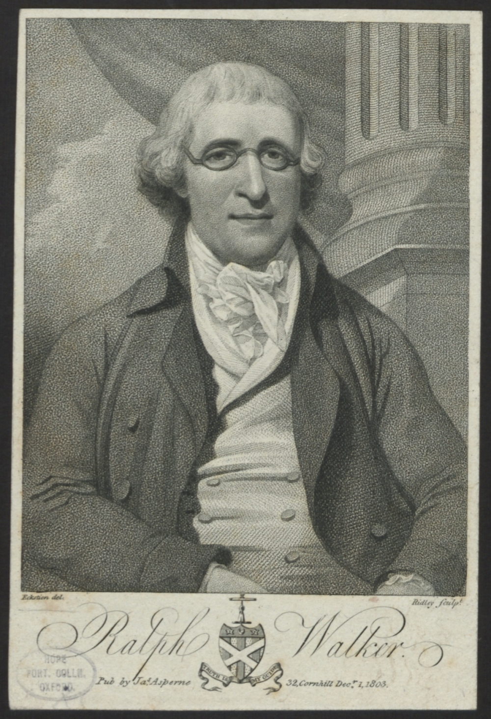 preview image for Print (Stipple Engraving) of Ralph Walker by Ridley, from original by Eckstein, printed by J. Asperne, 32 Cornhill, [London], December 1st 1803