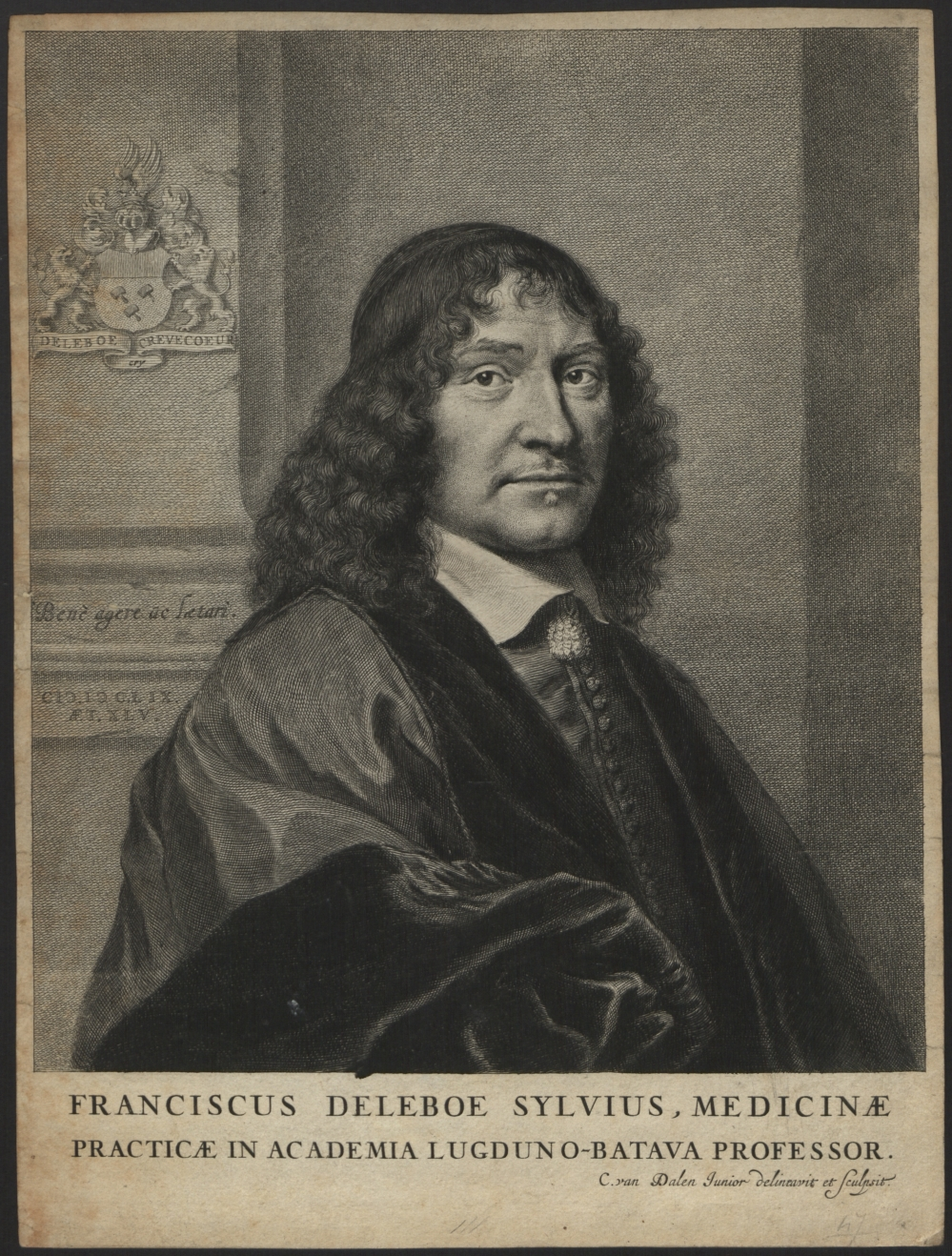 preview image for Print (Engraving) Franciscus Deleboe Sylvius, engraved by C. van Dalen, c. 1659