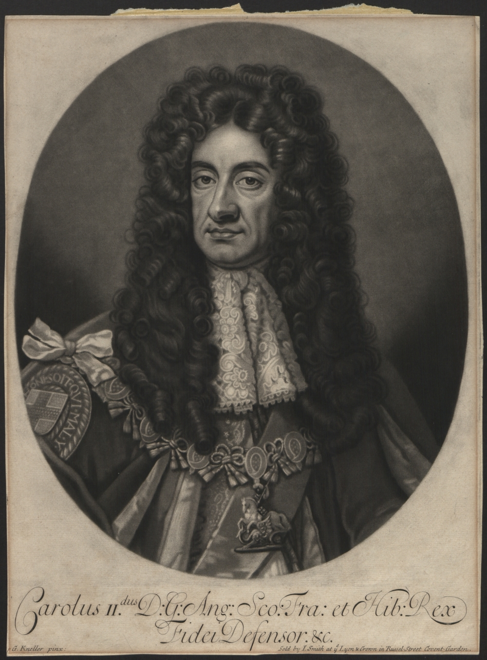 preview image for Print (Mezzotint) Charles II, drawn by G. Kneller, sold by I. Smith, London, Late 17th Century