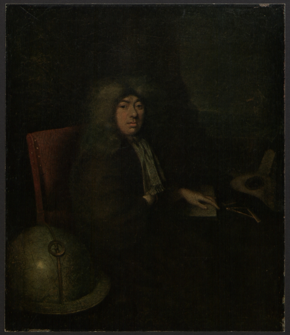 preview image for Reproduction of a Painting Thought to be a Portrait of Samuel Pepys, with a Manuscript Letter from King James II Mounted in the Back, with Separate Frame, 1925