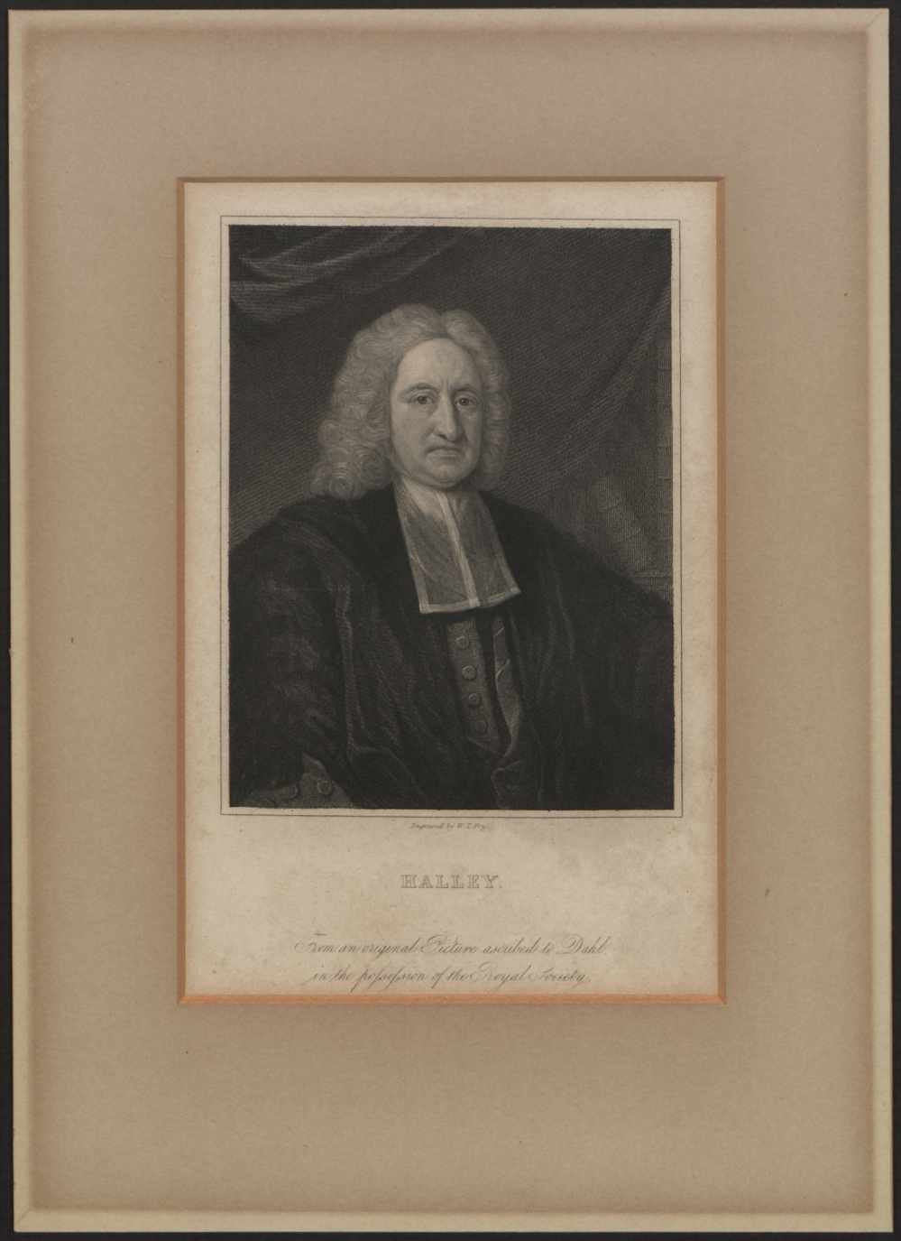 preview image for Print (Engraving) of Edmond Halley, with Separate Frame, by W. T. Fry, from the Royal Society Portrait, Early 19th Century