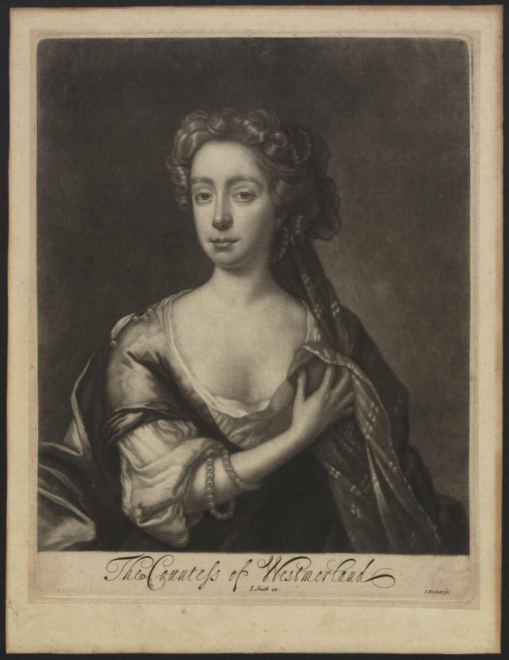 preview image for Print, Mezzotint, Dorothy Fane The Countess of Westmorland, John Smith, Isaac Beckett, after John Riley, 17th Century
