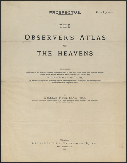 preview image for Pamphlet. The Observer's Atlas of the Heavens... by William Peck. London, published by Gall and Inglis, 1898