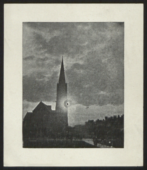 preview image for Print (Photogram) Eclipse against Church steeple, c1900